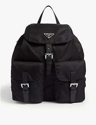 PRADA: Triangle logo nylon backpack