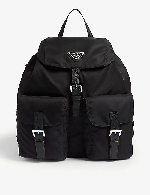 PRADA: Logo-plaque nylon backpack