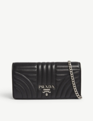 ff5ac2a3846 PRADA - Logo quilted leather wallet-on-chain | Selfridges.com