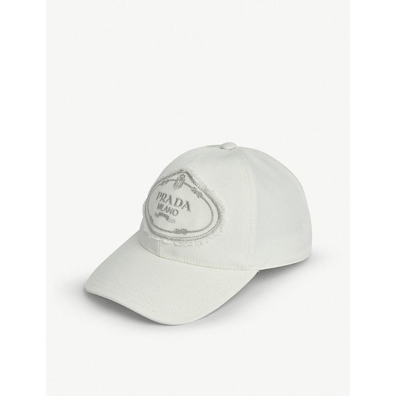 e3a1c6699a3 Prada Logo Nylon Baseball Cap In White
