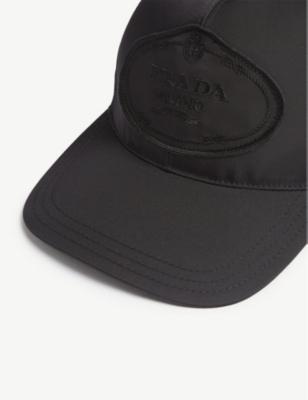 1d1b4683a7e Prada Womens Black Logo Nylon Baseball Cap