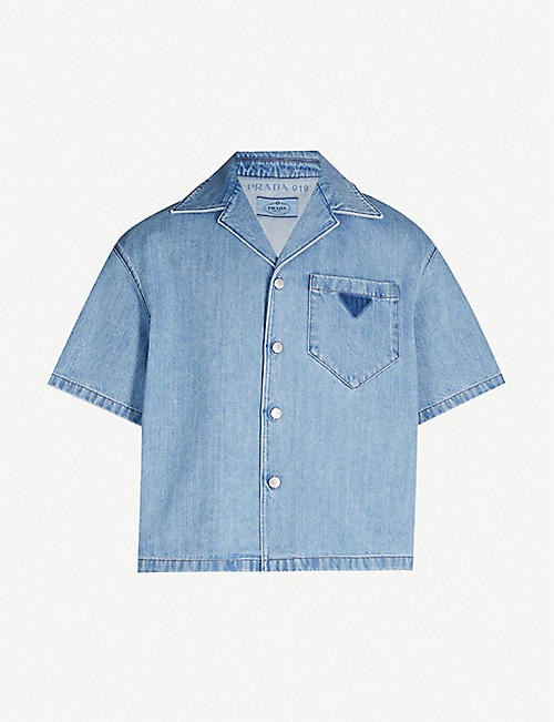 862333b348670 PRADA Oversized faded denim shirt