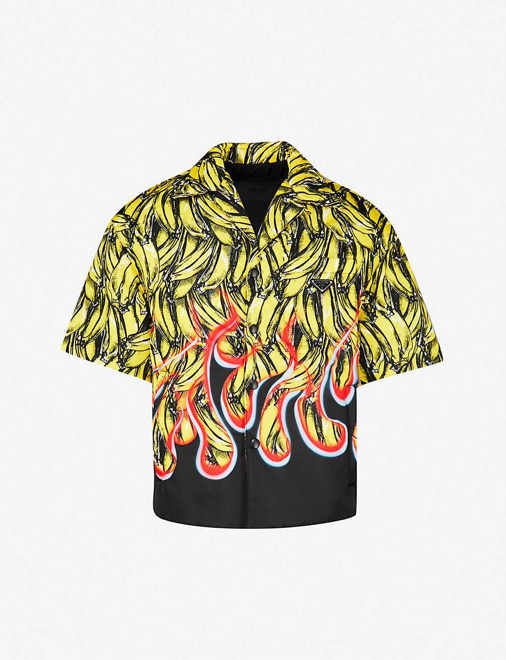 PRADA - Banana-print padded gabardine-shell shirt