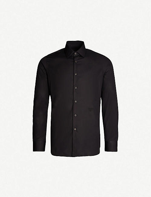 PRADA Logo-embroidered slim-fit cotton shirt