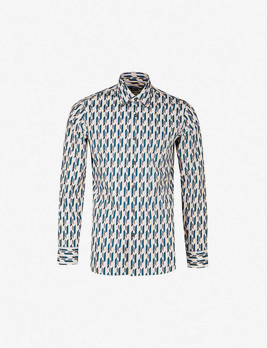360ca8edf PRADA - Geometric-print regular-fit cotton shirt | Selfridges.com