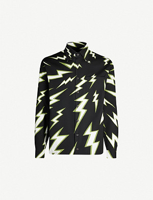 PRADA Lightning-print relaxed-fit cotton shirt