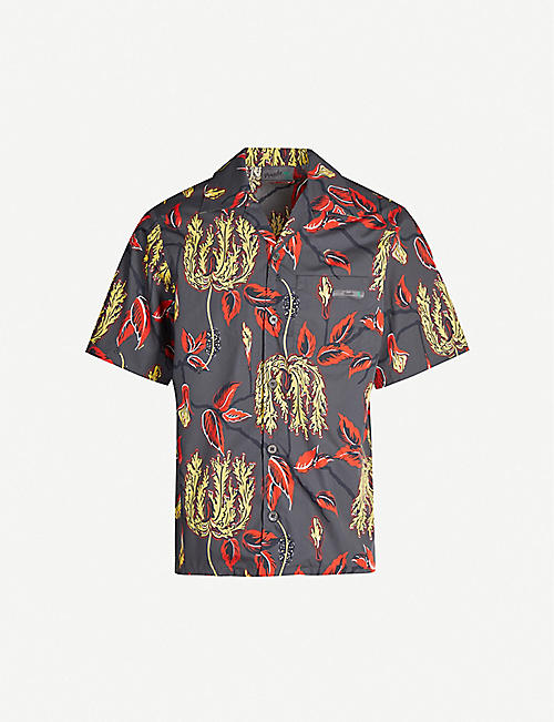 PRADA Lilium-print relaxed-fit cotton shirt