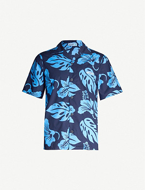 PRADA Hibiscus-print relaxed-fit cotton shirt