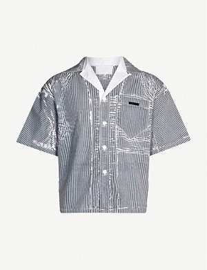 PRADA Striped cotton bowling shirt