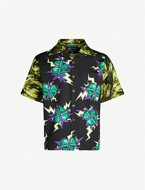 PRADA Heart-print relaxed-fit cotton shirt