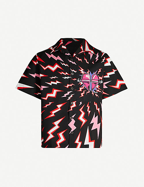 PRADA Bolt heart-print oversized cotton shirt