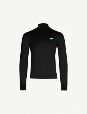 PRADA Logo-appliquéd turtleneck cotton-jersey top