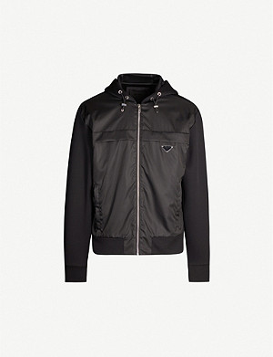 PRADA Contrast-panel nylon and cotton-blend jacket