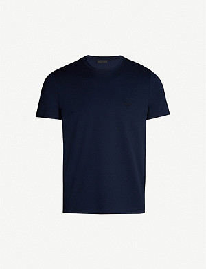PRADA Logo-embroidered stretch-cotton T-shirt