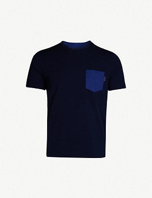 PRADA Colour-blocked stretch-cotton T-shirt