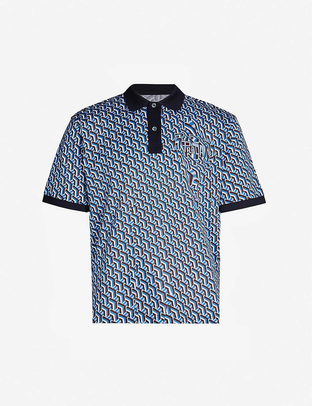 c2778fce6 PRADA - Geometric-patterned cotton-piqué polo shirt | Selfridges.com