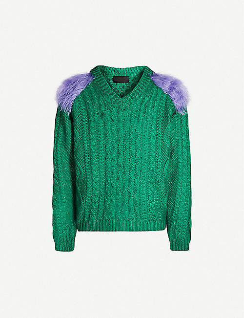 PRADA V-neck faux fur-panelled mohair-blend jumper