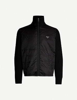 PRADA Contrast-sleeve wool and padded nylon jacket