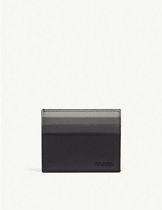 PRADA: Tri-colour saffiano leather card holder