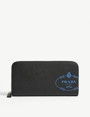 PRADA Logo saffiano leather zip purse