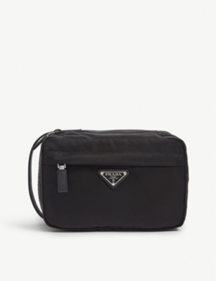 PRADA Triangle logo nylon washbag