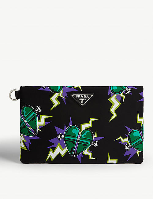 PRADA Monster heart print nylon pouch