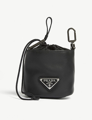 PRADA Logo leather drawstring mini pouch