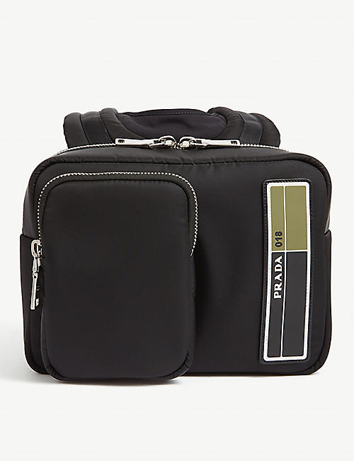 PRADA Rubberised-logo shell backpack