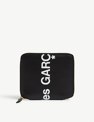 COMME DES GARCONS Logo print zip-around leather wallet