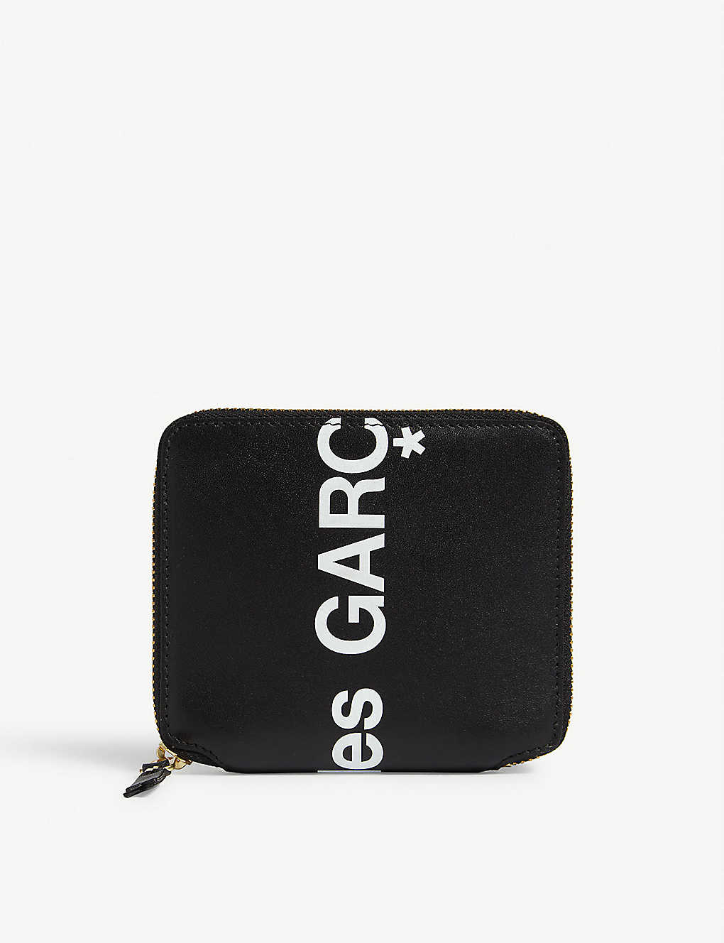 COMME DES GARCONS: Logo print zip-around leather wallet