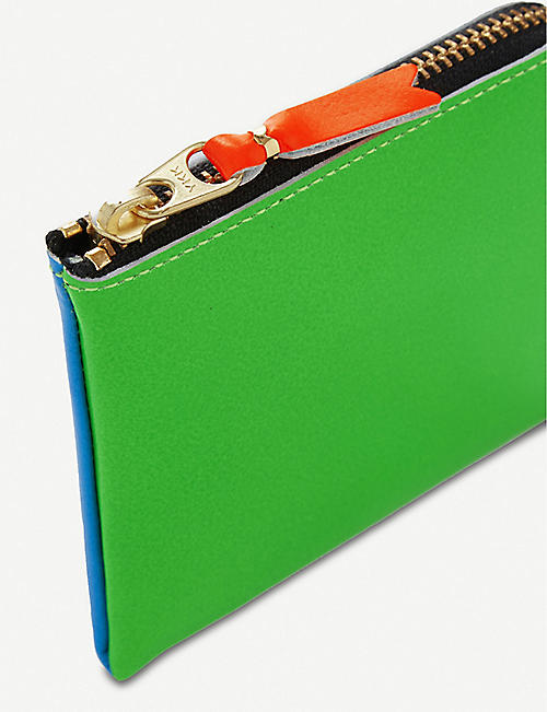 COMME DES GARCONS Super fluorescent half zip leather wallet