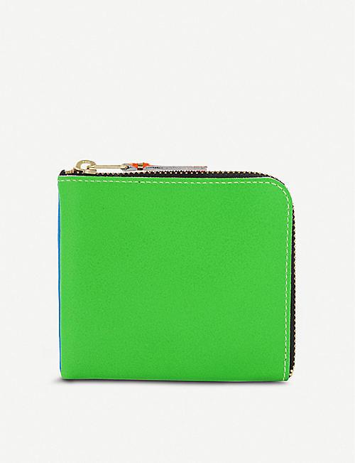 d0ad8145f8d36 COMME DES GARCONS Super fluorescent half zip leather wallet
