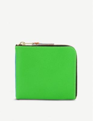 Super Fluorescent Half Zip Leather Wallet by Comme Des Garcons