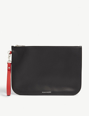 ALEXANDER MCQUEEN Logo embossed leather wristlet pouch