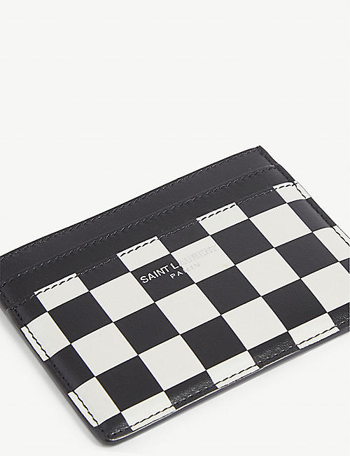 SAINT LAURENT Check print leather cardholder