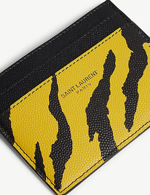SAINT LAURENT Zebra print card holder