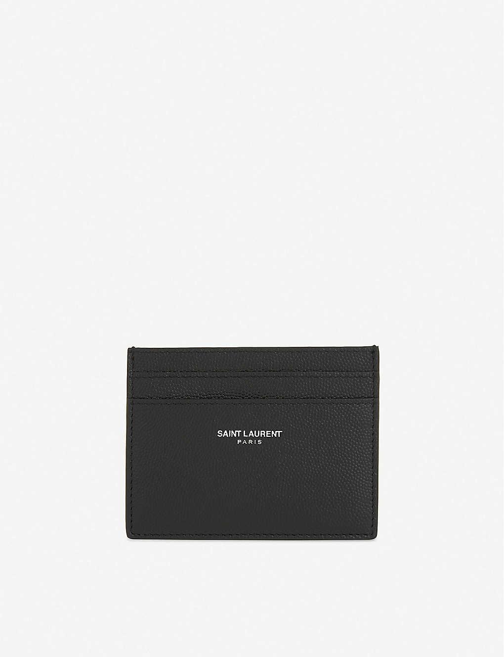 quality design 47d31 47508 SAINT LAURENT - Logo pebbled leather card holder | Selfridges.com