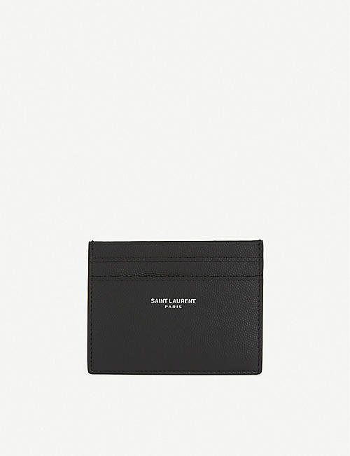 SAINT LAURENT: Logo pebbled leather card holder