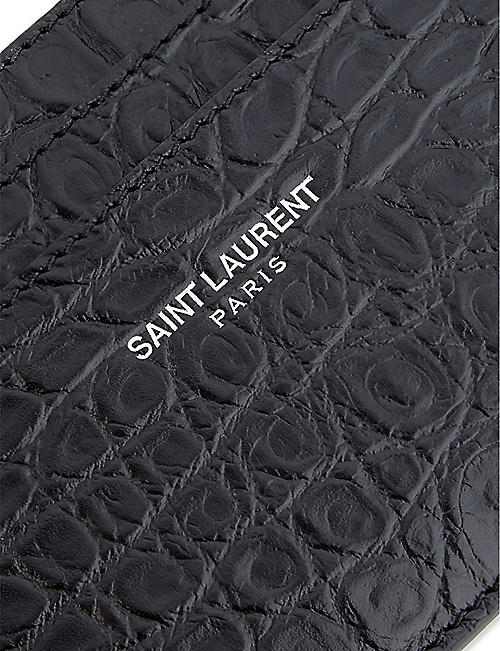 SAINT LAURENT Leather crocodile embossed card holder