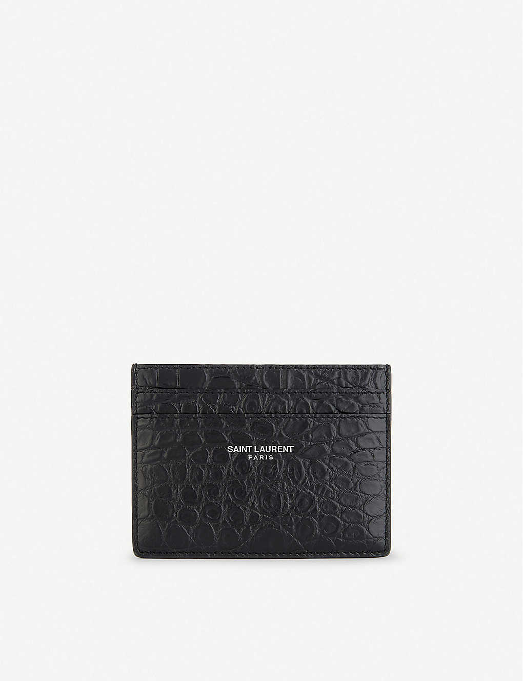 fa7d6cf7025 SAINT LAURENT - Leather crocodile embossed card holder | Selfridges.com