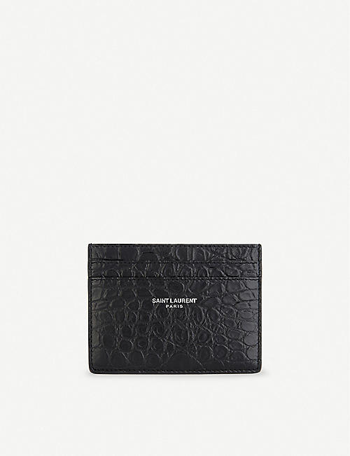 SAINT LAURENT: Leather crocodile embossed card holder