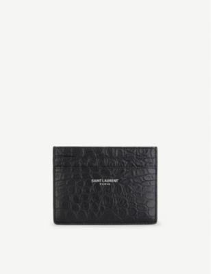 43133765 SAINT LAURENT - Leather crocodile embossed card holder | Selfridges.com
