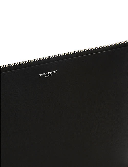 SAINT LAURENT Pebbled leather tablet pouch