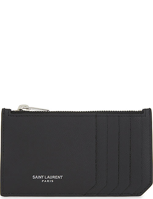1ff4edeb896c SAINT LAURENT Pebbled leather zipped card holder