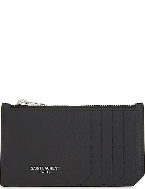 a7c92ff52ca2 SAINT LAURENT Pebbled leather zipped card holder