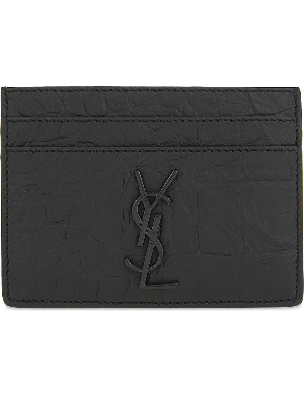 37b89e777b8 SAINT LAURENT - Monogram crocodile-embossed leather card holder ...