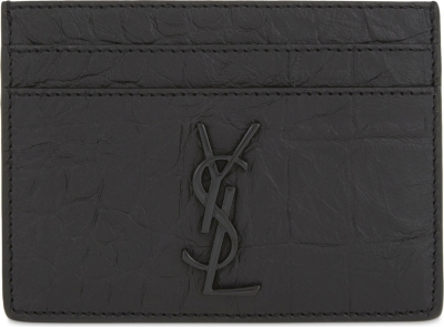 abea40a5e42 SAINT LAURENT - Monogram crocodile-embossed leather card holder |  Selfridges.com