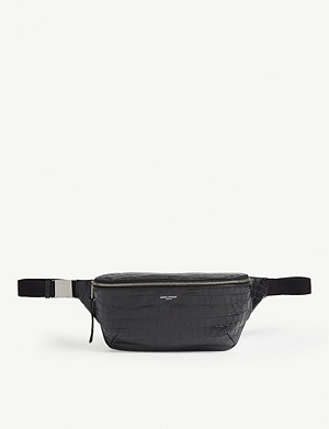 SAINT LAURENT Croc-embossed belt bag