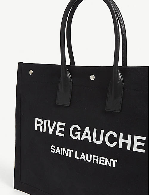 SAINT LAURENT 里夫·高切皮革和亚麻手提包