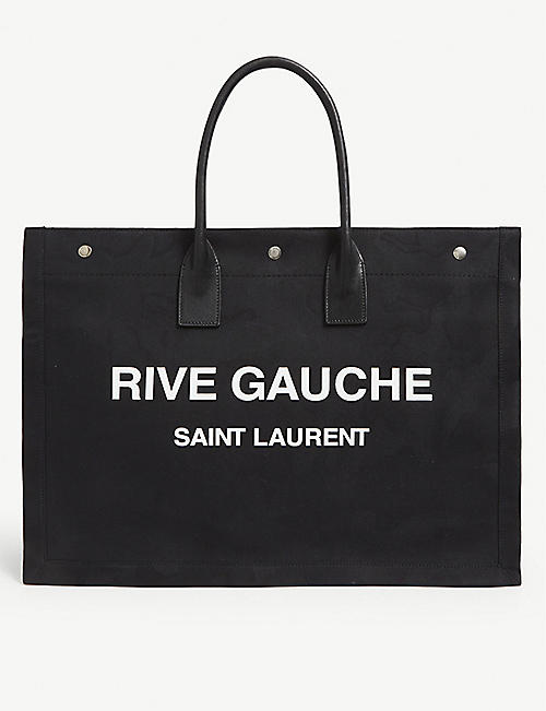 SAINT LAURENT Rive Gauche leather and linen tote